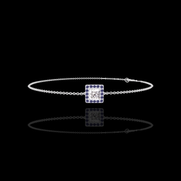 Bracelet Create 200059 White gold 18 carats - Diamond white Princess 0.3 Carats - Halo Blue Sapphire - Chain FORCAT