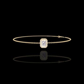 Bracelet Create 200074 Or jaune 9 carats - Diamant Rectangle 0.3 carat - Halo Diamant - Chaîne FORCAT