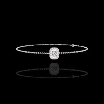 Bracelet Create 200075 Or blanc 18 carats - Diamant Rectangle 0.3 carat - Halo Diamant - Chaîne FORCAT