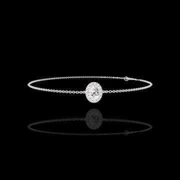 Bracelet Create 200108 Or blanc 9 carats - Diamant Ovale 0.3 carat - Halo Diamant - Chaîne FORCAT
