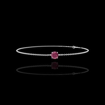 Bracelet Create 200388 Or blanc 9 carats - Rubis Rond 0.3 carat - Chaîne FORCAT