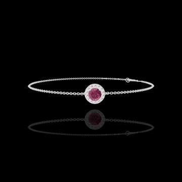Bracelet Create 200396 Or blanc 9 carats - Rubis Rond 0.3 carat - Halo Diamant - Chaîne FORCAT
