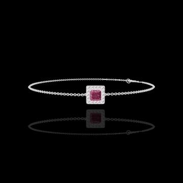 Bracciale Create 200428 Oro bianco 9 carati - Rubino Principessa 0.3 Carati - Halo Diamante - Catena FORCAT