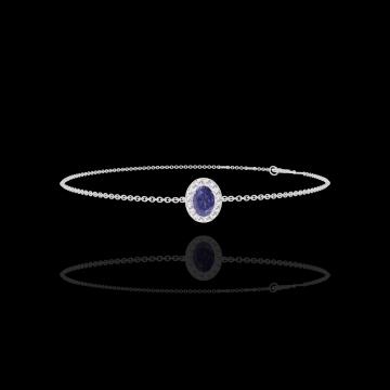 Armband Create 200684 Witgoud 9 karaat - Blauwe saffier Ovaal 0.3 Karaat - Halo Diamant - Ketting FORCAT