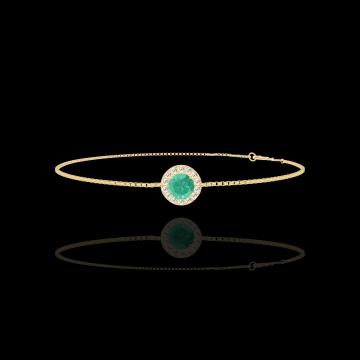 Armband Create 200781 Gelbgold 750/-(18Kt) - Smaragd Rund 0.3 Karat - Halo Diamant - Kette VENITIENNE