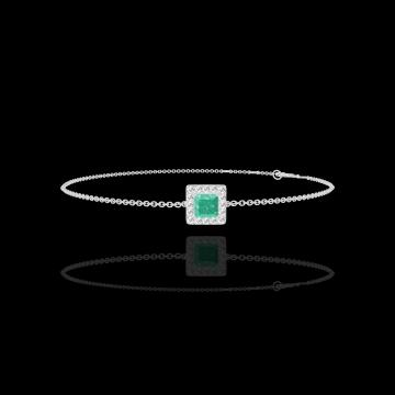 Armband Create 200811 Weißgold 750/-(18Kt) - Smaragd Prinzess 0.3 Karat - Halo Diamant - Kette FORCAT