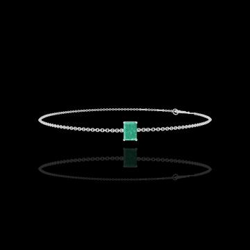 Bracelet Create 200836 Or blanc 9 carats - Émeraude Rectangle 0.3 carat - Chaîne FORCAT