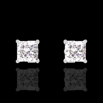 Boucles d'oreilles Create 200980 Or blanc 9 carats - Diamant Princesse 0.3 carat (2 X)