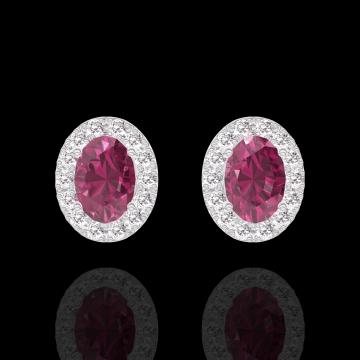 Boucles d'oreilles Create 201208 Or blanc 9 carats - Rubis Ovale 0.3 carat (2 X) - Halo Diamant
