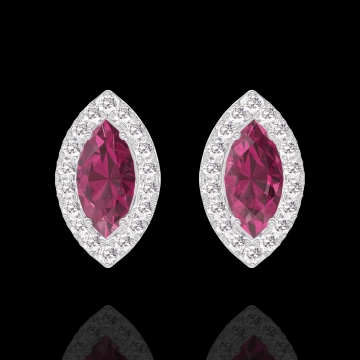 Earrings Create 201240 White gold 9 carats - Ruby Marquise 0.3 Carats (2 X) - Halo Diamond white