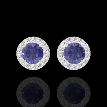 Boucles d'oreilles Create 201255 Or blanc 18 carats - Saphir bleu Rond 0.3 carat (2 X) - Halo Diamant
