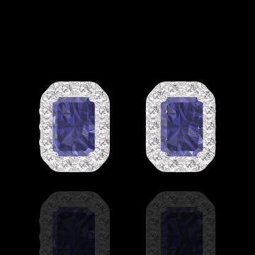 Boucles d'oreilles Create 201287 Or blanc 18 carats - Saphir bleu Rectangle 0.3 carat (2 X) - Halo Diamant