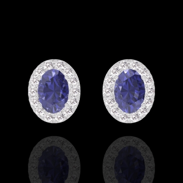 Boucles d'oreilles Create 201303 Or blanc 18 carats - Saphir bleu Ovale 0.3 carat (2 X) - Halo Diamant