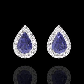 Orecchini Create 201320 Oro bianco 9 carati - Zaffiro blu Goccia 0.3 Carati (2 X) - Halo Diamante