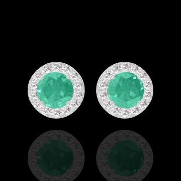 Boucles d'oreilles Create 201352 Or blanc 9 carats - Émeraude Rond 0.3 carat (2 X) - Halo Diamant