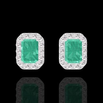 Boucles d'oreilles Create 201384 Or blanc 9 carats - Émeraude Rectangle 0.3 carat (2 X) - Halo Diamant