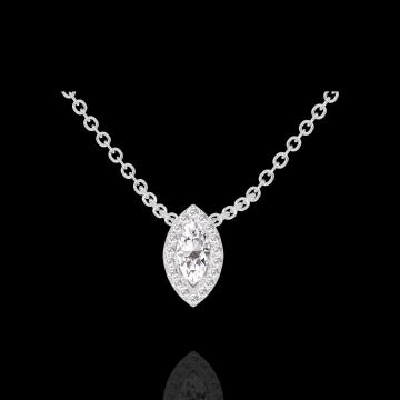 Collana Create 201804 Oro bianco 9 carati - Diamante di laboratorio Marchesa 0.3 Carati - Halo Diamante - Catena FORCAT