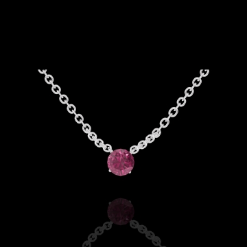 Collier Create 201828 Or blanc 9 carats - Rubis Rond 0.3 carat - Chaîne FORCAT