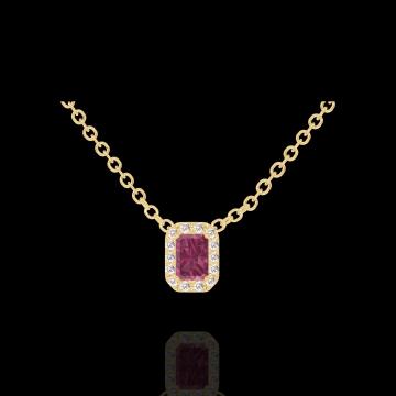 Collier Create 201898 Gelbgold 375/-(9Kt) - Rubin Rechteckig 0.3 Karat - Halo Diamant - Kette FORCAT