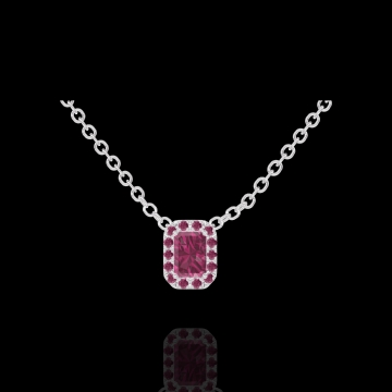 Collier Create 201908 Or blanc 9 carats - Rubis Rectangle 0.3 carat - Halo Rubis - Chaîne FORCAT