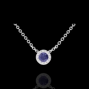 Collier Create 202027 Or blanc 18 carats - Saphir bleu Rond 0.3 carat - Halo Diamant - Chaîne FORCAT