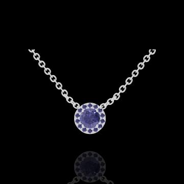 Collier Create 202044 Or blanc 9 carats - Saphir bleu Rond 0.3 carat - Halo Saphir bleu - Chaîne FORCAT