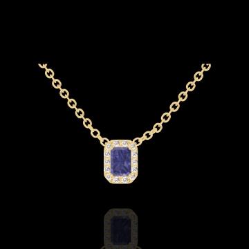 Collana Create 202090 Oro giallo 9 carati - Zaffiro blu Rettangolo 0.3 Carati - Halo Diamante - Catena FORCAT