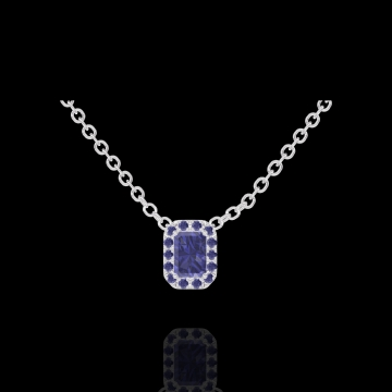 Collier Create 202108 Or blanc 9 carats - Saphir bleu Rectangle 0.3 carat - Halo Saphir bleu - Chaîne FORCAT