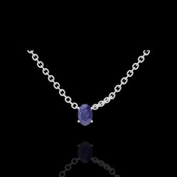 Collier Create 202116 Or blanc 9 carats - Saphir bleu Ovale 0.3 carat - Chaîne FORCAT