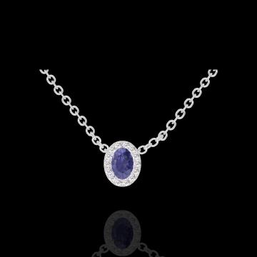 Collier Create 202124 Weißgold 375/-(9Kt) - Blauer Saphir Oval 0.3 Karat - Halo Diamant - Kette FORCAT