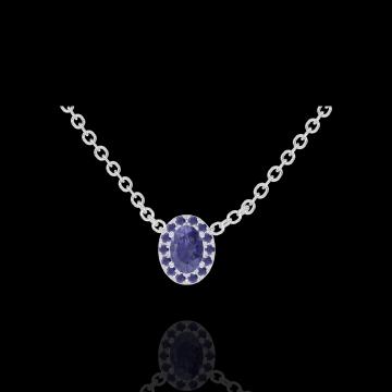 Collier Create 202140 Or blanc 9 carats - Saphir bleu Ovale 0.3 carat - Halo Saphir bleu - Chaîne FORCAT