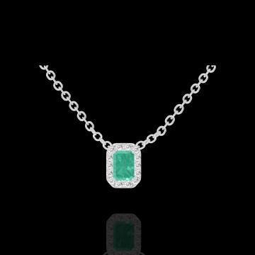 Collier Create 202284 Or blanc 9 carats - Émeraude Rectangle 0.3 carat - Halo Diamant - Chaîne FORCAT