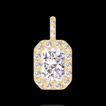 Pendentif Create 202837 Or jaune 18 carats - Diamant Rectangle 0.3 carat - Halo Diamant - Sertissage Diamant - Pas de chaîne