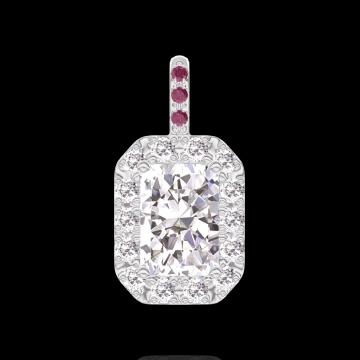 Anhänger Create 202843 Weißgold 750/-(18Kt) - Diamant Rechteckig 0.3 Karat - Halo Diamant - Fassung Rubin - Keine Kette