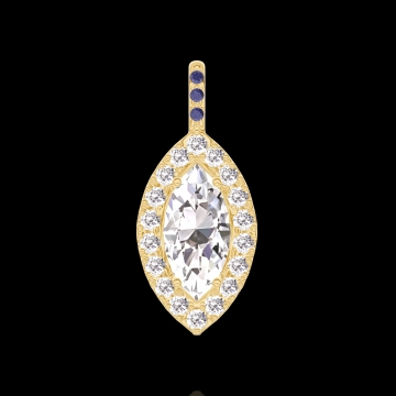 Pendentif Create 203421 Or jaune 18 carats - Diamant Marquise 0.3 carat - Halo Diamant - Sertissage Saphir bleu - Pas de chaîne