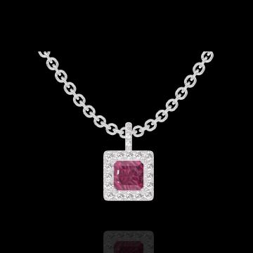 Hanger Create 204968 Witgoud 9 karaat - Robijn Prinses 0.3 Karaat - Halo Diamant - Setting Diamant - Ketting FORCAT