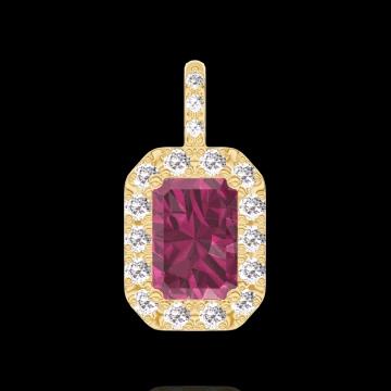 Anhänger Create 205142 Gelbgold 375/-(9Kt) - Rubin Rechteckig 0.3 Karat - Halo Diamant - Fassung Diamant - Keine Kette