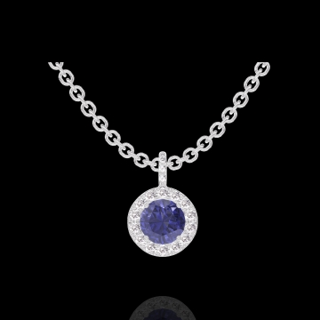 Pandantiv Create 205928 Aur alb 9 carate - Safir albastru Rotund 0.3 carate - Halo Diamant - Încrustare Diamant - Lanţ FORCAT