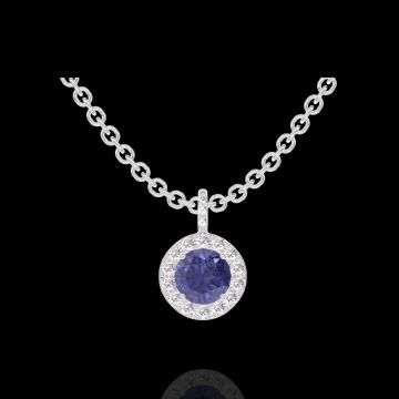 Pendentif Create 205928 Or blanc 9 carats - Saphir bleu Rond 0.3 carat - Halo Diamant - Sertissage Diamant - Chaîne FORCAT
