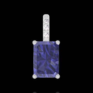 Anhänger Create 206247 Weißgold 750/-(18Kt) - Blauer Saphir Rechteckig 0.3 Karat - Fassung Diamant - Keine Kette