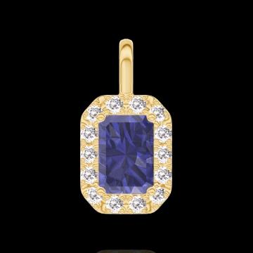 Ciondolo Create 206290 Oro giallo 9 carati - Zaffiro blu Rettangolo 0.3 Carati - Halo Diamante - Nessuna catenella