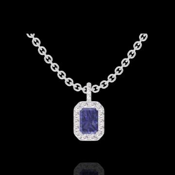 Pendentif Create 206312 Or blanc 9 carats - Saphir bleu Rectangle 0.3 carat - Halo Diamant - Sertissage Diamant - Chaîne FORCAT