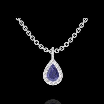 Anhänger Create 206696 Weißgold 375/-(9Kt) - Blauer Saphir Tropfen 0.3 Karat - Halo Diamant - Fassung Diamant - Kette FORCAT