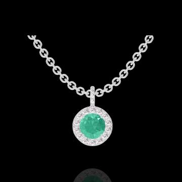 Pendentif Create 207080 Or blanc 9 carats - Émeraude Rond 0.3 carat - Halo Diamant - Sertissage Diamant - Chaîne FORCAT