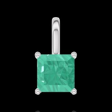 Hanger Create 207204 Witgoud 9 karaat - Smaragd Prinses 0.3 Karaat - Geen ketting