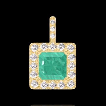 Pandantiv Create 207254 Aur galben 9 carate - Smarald Princess 0.3 carate - Halo Diamant - Încrustare Diamant - Fără lanţ
