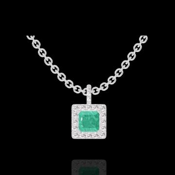 Ciondolo Create 207271 Oro bianco 18 carati - Smeraldo Principessa 0.3 Carati - Halo Diamante - Incastonatura Diamante - Catena FORCAT