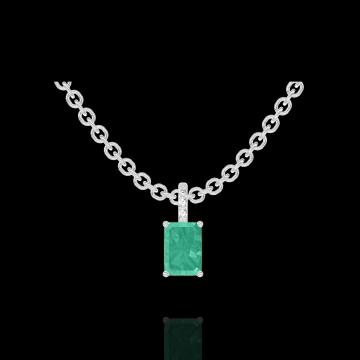 Pendentif Create 207416 Or blanc 9 carats - Émeraude Rectangle 0.3 carat - Sertissage Diamant - Chaîne FORCAT
