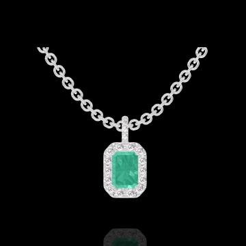 Pendentif Create 207464 Or blanc 9 carats - Émeraude Rectangle 0.3 carat - Halo Diamant - Sertissage Diamant - Chaîne FORCAT