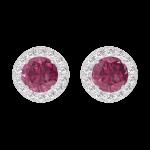 Boucles d'oreilles Create 201160 Or blanc 9 carats - Rubis Rond 0.3 carat (2 X) - Halo Diamant